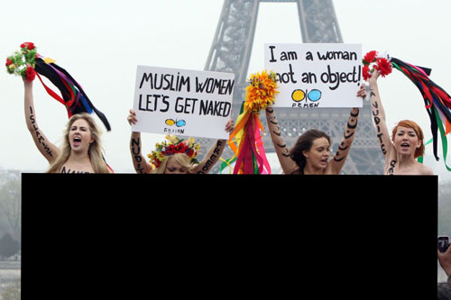 Femen group naked protest against Hijab