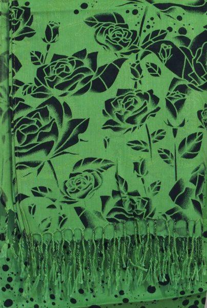 Black & Green Floral Hijab