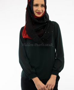 Ombre Hijab Midnight Blue, Garnet & Black