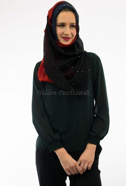 Ombre Hijab Midnight Blue, Garnet & Black