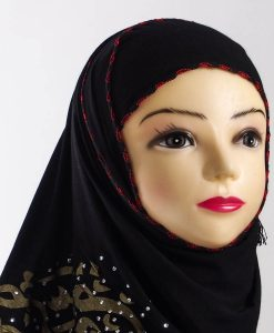 Diamante Black Hijab