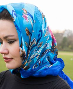 Turkish Hijab Floral Blue & Navy Blue