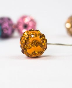 Orange Diamante Globe Hijab Pin