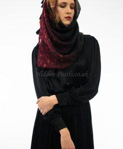 Leopard Print Hijab Blue & Red