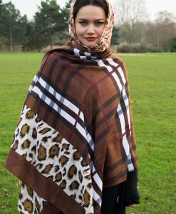 Turkish Hijab Russet & Yellow with Burberry Brown Outdoors 3