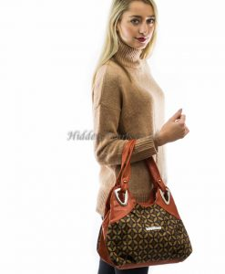Orange & brown print shoulder bag3