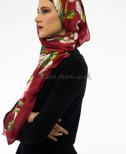 Silk Floral Hijab Red & White Rose