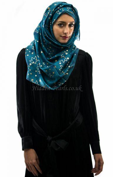 glitter leaf hijab teal