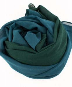 Fusion Chiffon Scarf Teal & forest green