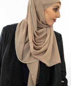 Limited Edition Pearl Chiffon Hijab - Latte - Hidden Pearls 6