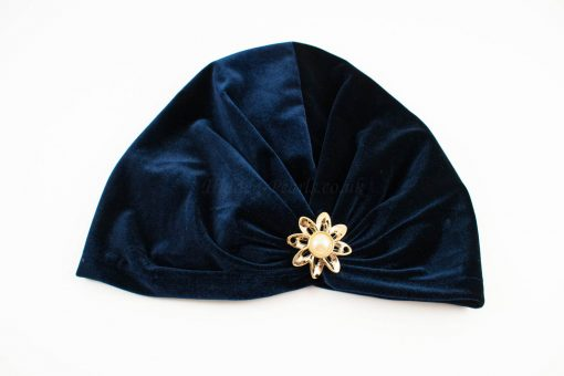 Turban Midnight Blue with Brooch