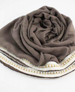 Pearl & Lace Hijab Stone Grey