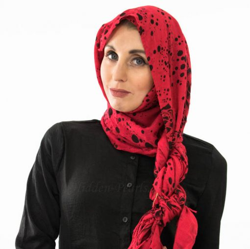 rinted Floral Hijab - Red - Hidden Pearls 2