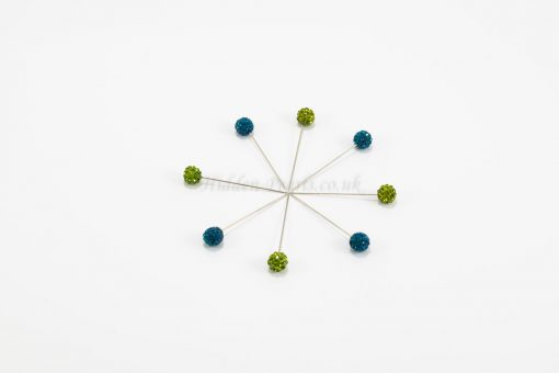 Diamante Hijab Pin - Green & Azure Blue - Hidden Pearls