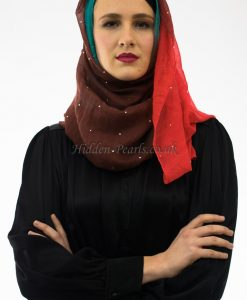Ombre Hijab Brown, Red & Turquoise 2