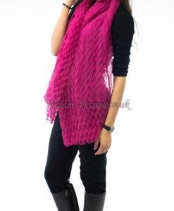 Crinkle Scarf Shocking Pink 2