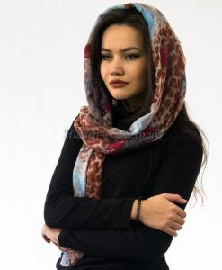 Butterfly Scarf Sky Blue & Brown