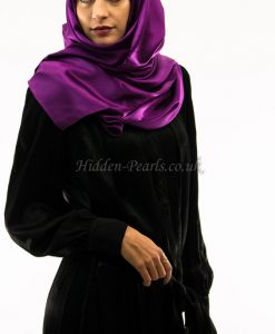 silk plain purple hijab style