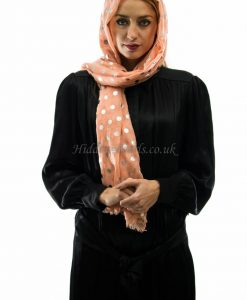 Metallic polka dot peach hijab style