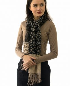 Large Scarf Leopard Print Two Tone Cream & Black 2