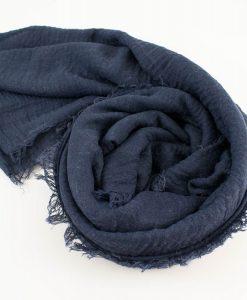Plain Crimp Hijab Navy Blue 2